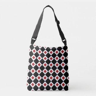 All-Over-Print Black, White, Red Diamond Pattern Crossbody Bag