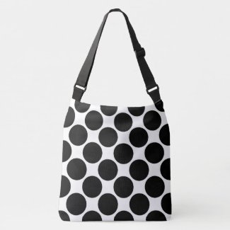 All-Over-Print Bold Black Polka Dots on White