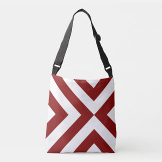 All-Over-Print Geometric Red and White Chevrons Tote Bag