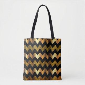All Over Print Gold & Black Chevron Glitter Design Tote Bag