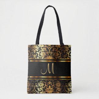 All Over Print Gold & Black Damask Design Tote Bag