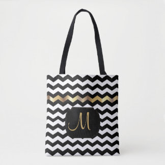 All Over Print Gold, White & Black Chevron Design Tote Bag