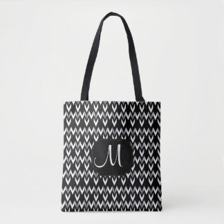 All Over Print Gold, White & Black Chevron Design Tote Bag