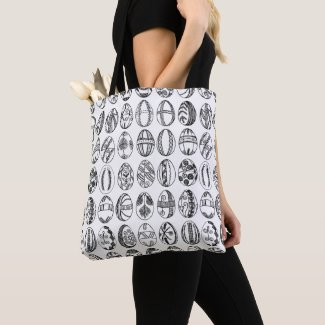 All-Over-Print Hand Drawn Easter Eggs Illustration Tote Bag