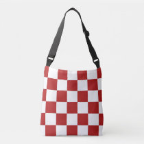 All-Over-Print Red and White Checkered Pattern Crossbody Bag