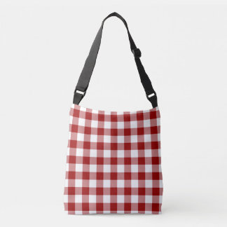All-Over-Print Red and White Gingham Pattern Crossbody Bag