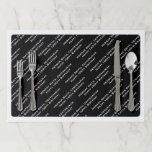 """All-over Print Repeating Your Text - White/Black Paper Placemat<br><div class=""""desc"""">This is an all-over print of your three (3) lines of white text printed in diagonal rows over black. Personalize this white and black repeated text with up to 3 lines of text 28 characters each. (characters includes: letters, numbers, spaces and punctuation). This design defaults to text for: 100th birthday,...</div>"""
