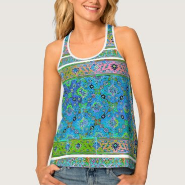 Beach Themed All Over Print Shirt Neon Rainbow Tiles! Tank