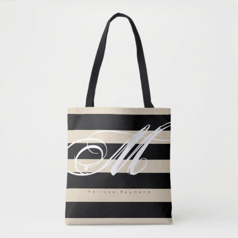 all-over-print tote bag with large black stripes