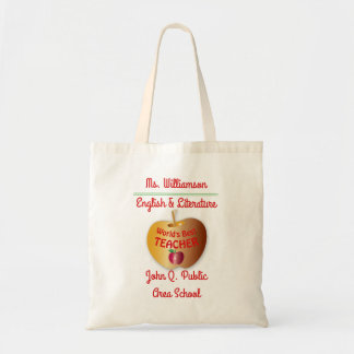 All Over Print World's Best Teacher Name   School Tote Bag