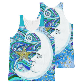 All Over Printed Unisex Tank MOONFACE All-Over Print Tank Top