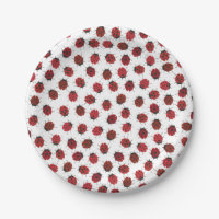 All over Red Ladybugs Modern Paper Plate