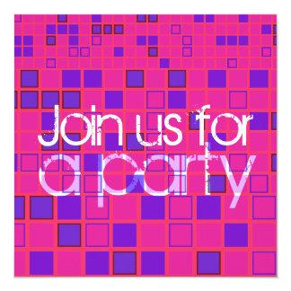 "All Party Invitation Pink Purple Mosaic 5.25"" Square Invitation Card"