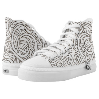 All Paths End There-Abstract Art Black And White High-Top Sneakers