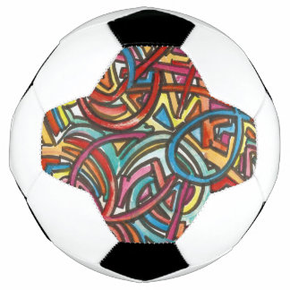 All Paths End There-Abstract Art Hand Painted Soccer Ball