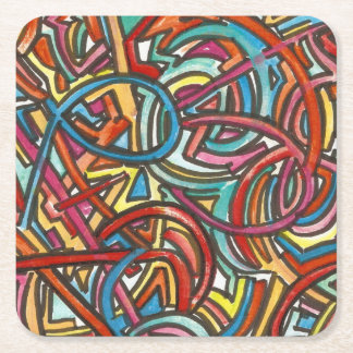 All Paths End There-Acrylic Paint And Ink Modern Square Paper Coaster