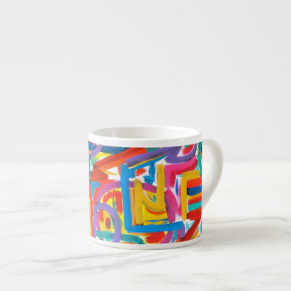 All Paths Go There - Abstract Art Handpainted Espresso Cup