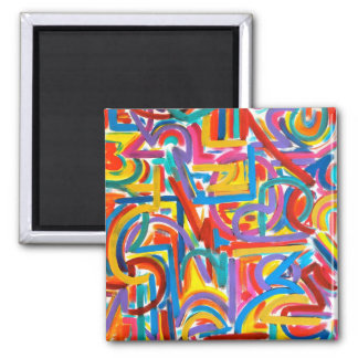 All Paths Go There - Abstract Art Handpainted Magnet