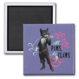 All Paws No Claws (color) 2 Inch Square Magnet