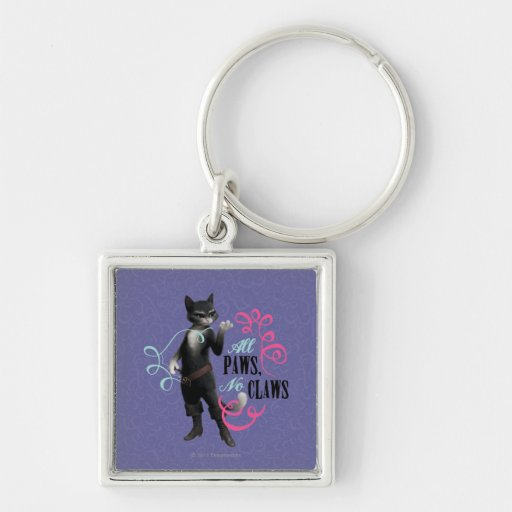 All Paws No Claws (color) Silver-Colored Square Keychain