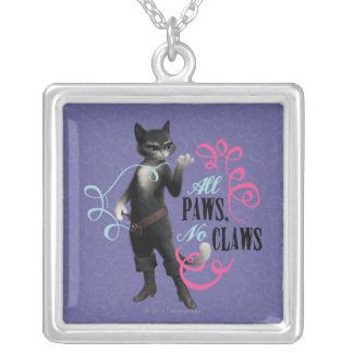 All Paws No Claws (color) Silver Plated Necklace