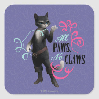 All Paws No Claws (color) Square Sticker