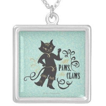All Paws No Claws Silver Plated Necklace by pussinboots at Zazzle