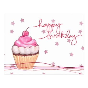 siberianmom All Pink and Sparkly Birthday Fanfare Postcard