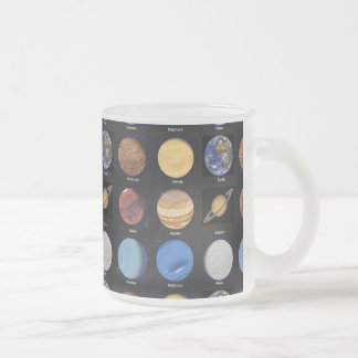 All Planets Science Photos With Names Frosted Glass Coffee Mug