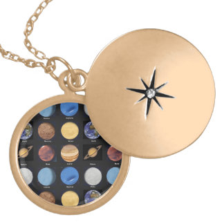 All Planets Science Photos With Names Round Locket Necklace
