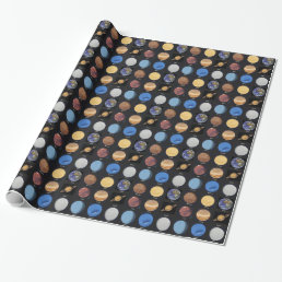 All Planets Science Photos With Names Wrapping Paper