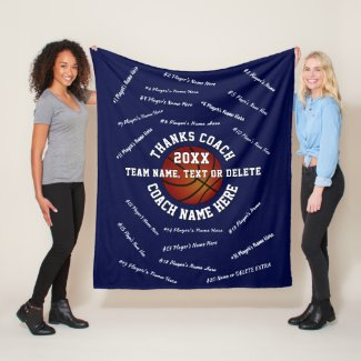 All Players Coach Names on Basketball Coach Gifts Fleece Blanket