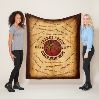 ALL Players Names on Gifts for Basketball Coaches Fleece Blanket