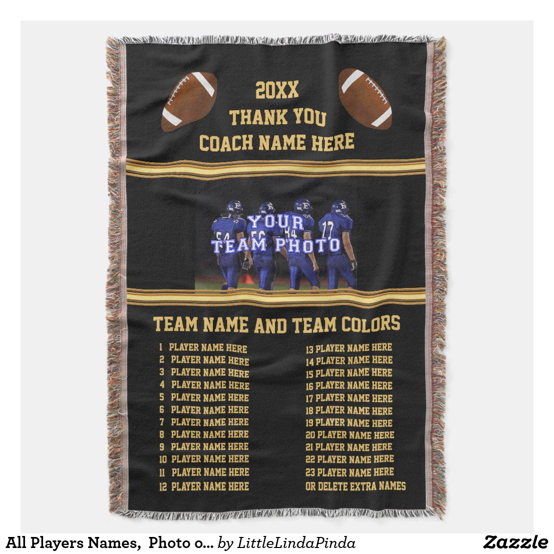 All Players Names, Photo on Football Coach Gifts Throw