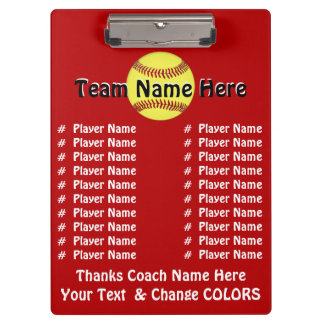 All Player's Names Softball Coach Gift Ideas Clipboard