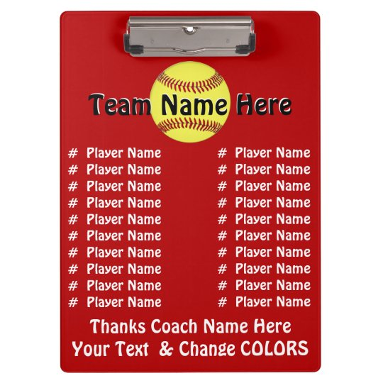All Player's Names Softball Coach Gift Ideas Clipboard