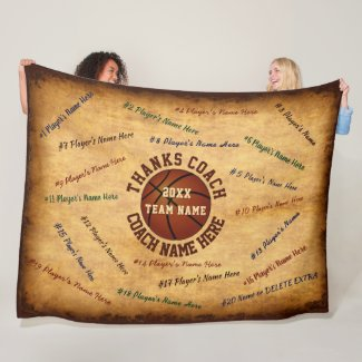 ALL Player's Names Vintage Look Basketball Blanket