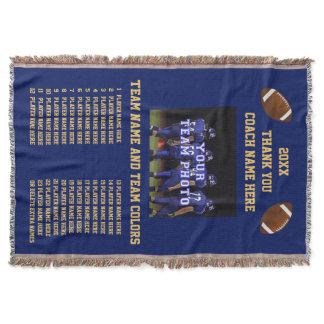 All Players Names Your Colors Football Coach Gifts Throw Blanket