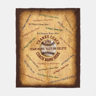 ALL Players, Team, Coach Name Baseball Coach Gifts Fleece Blanket