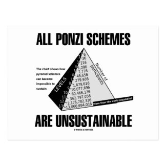 All Ponzi Schemes Are Unsustainable Econ Humor Post Cards