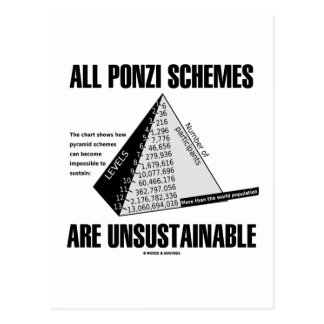 All Ponzi Schemes Are Unsustainable Econ Humor Postcard