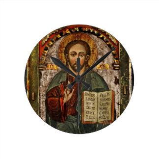 All Powerful Christ - Chrystus Pantokrator Round Clock