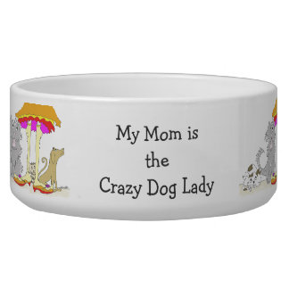 All Proceeds to Animal Charity Crazy Dog Lady Dog Food Bowl
