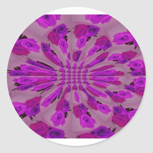 All purple burst pattern of a single repeated rose round stickers