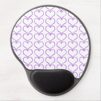 All  purple hearts on white background girly fun gel mouse mats