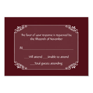 All Purpose Chic Burgundy and White Response Card