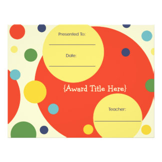 All Purpose Classroom Achivement Award Certificate Letterhead