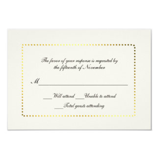 All Purpose Custom Ivory and Gold Response Card