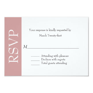 All Purpose Dusty Rose & White RSVP Card