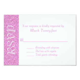 All Purpose Pink & White Glitter Look RSVP Card